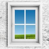 3d window frame with blue sky background Stock Images