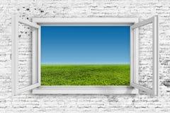 3d window frame with blue sky background vector illustration