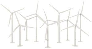 3D windturbine voor schone energie Stock Afbeelding