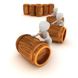3d wine barrel. 3D characters sort out the wine barrels Royalty Free Stock Image