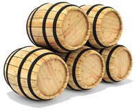 3d wine barrel stack. On white background 3D illustration Royalty Free Stock Images