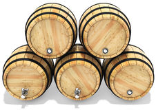 3d wine barrel stack. On white background 3D illustration Royalty Free Stock Photos