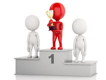 3d Winner celebrating on podium with trophy. 3d illustration. Winner celebrating on podium with trophy.  white background Royalty Free Stock Images