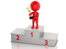 3d Winner celebrating on podium with trophy. 3d illustration. Winner celebrating on podium with trophy.  white background Stock Photography