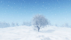 3D winter landscape with snowy tree. 3D render of a winter landscape with snowy tree Stock Photography