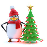 3d Winter penguin with his Christmas tree Stock Images