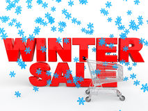 3d winter sale with snowflakes and shopping cart. 3d render of winter sale with snowflakes and shopping cart Royalty Free Stock Images