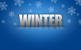 3D Winter Text Logo on Snowflake Background Stock Images