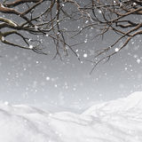 3D winter tree on a snowy background. 3D render of a winter tree on a snowy background Royalty Free Stock Images