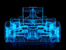 3d wire frame front view of a race car on a black background. Stock Photography