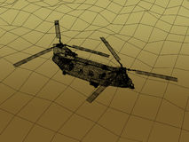 3d Wire Frame of Helicopte. War concept Stock Photo