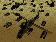 3d Wire Frame of Helicopter with tank. War concept Stock Photo