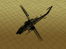 3d Wire Frame of Helicopter. War concept Royalty Free Stock Photography