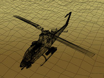 3d Wire Frame of Helicopter. War concept Royalty Free Stock Images