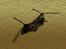 3d Wire Frame of Helicopter. War concept Stock Photo