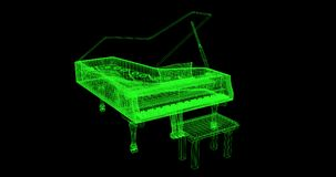 3D wire-frame of a piano. A green wire-frame of a piano with a black background. High quality rendered Royalty Free Stock Photography