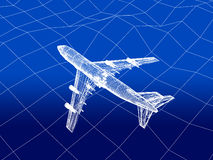 3D wireframe of airplane flies over a sea Stock Photography
