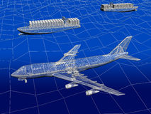 3D wireframe of airplane with ocean liner Royalty Free Stock Photo