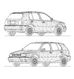 3D wireframe design of car Royalty Free Stock Photography