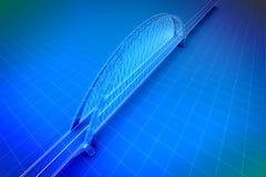 3d Wireframe geeft van een brug terug Royalty-vrije Stock Foto
