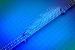 3d Wireframe geeft van een brug terug Royalty-vrije Stock Afbeeldingen