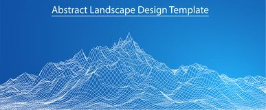 3D Wireframe-Landschap vector illustratie