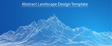 3D Wireframe-Landschap Vector Stock Foto