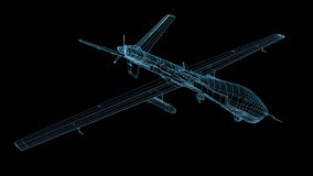 3d wireframe render of drone or UAV Royalty Free Stock Images