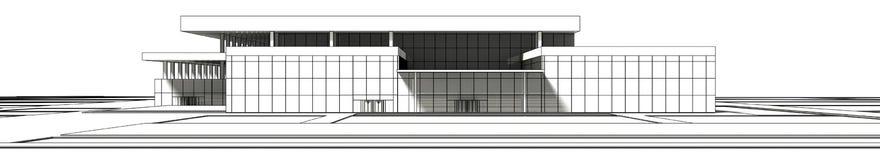 3D wireframe rendering budynek Zdjęcia Royalty Free