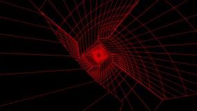 3D Wireframe scorrente bianco ondeggia il fondo rosso V2 di moto di Loopable del tunnel di Digital di fantascienza del fondo V23D royalty illustrazione gratis