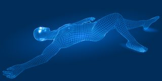 3d wireframe style lying man. Spiritual energy beams inside head and torso. blue version Stock Illustration