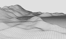 3D Wireframe Terrain Wide Angle EPS10 Vector Royalty Free Stock Images