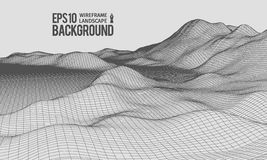 3D Wireframe Terrain Wide Angle EPS10 Vector Royalty Free Stock Image