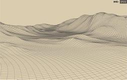 3D Wireframe-Terrein Brede Hoek Royalty-vrije Stock Afbeeldingen