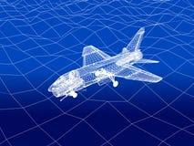 3D wireframe van gevechtsvliegtuigvliegen over een overzees Stock Foto