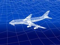 3D wireframe van vliegtuigvliegen over een overzees Stock Foto
