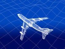 3D wireframe van vliegtuigvliegen over een overzees Stock Fotografie