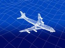 3D wireframe van vliegtuigvliegen over een overzees Stock Foto's