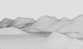 3D Wireframe-Vector van de Terrein Brede Hoek EPS10 Stock Foto's