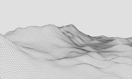 3D Wireframe-Vector van de Terrein Brede Hoek EPS10 Royalty-vrije Stock Foto