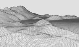 3D Wireframe-Vector van de Terrein Brede Hoek EPS10 Royalty-vrije Stock Afbeeldingen