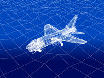 3D wireframe of warplane flies over a sea Stock Photo