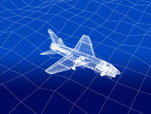 3D wireframe of warplane flies over a sea Royalty Free Stock Photo