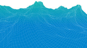 3d wireframe wave surface Royalty Free Stock Images