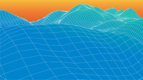 3d wireframe wave surface Royalty Free Stock Image