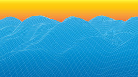 3d wireframe wave surface Royalty Free Stock Photography
