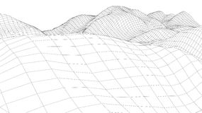 3d wireframe wave surface Stock Photo