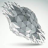 3d wireframe wektorowy cyfrowy przedmiot łamający w różnego particl ilustracja wektor