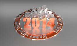 3D Wish Happy New Year 2014. 3D Rendered Orange Glossy Wish Happy New Year 2014 With History If Last Years In Circle Royalty Free Stock Photo