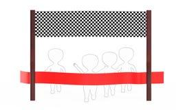 3d wit - het zwarte buiten gevoerde karakter staat op het punt de afwerkingslijn te kruisen die velen precceding ander karakter,  royalty-vrije illustratie